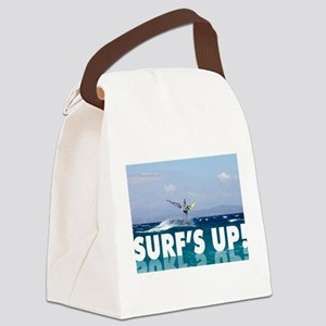 Surfs Up Windsurfer in the Air Canvas Lunch Bag