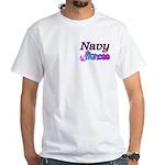 Navy Fiancee White T-Shirt