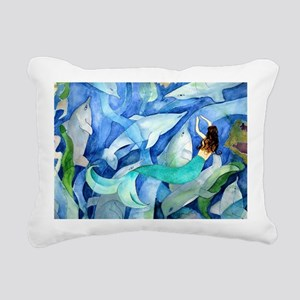 Dolphins and Memraid Art Rectangular Canvas Pillow