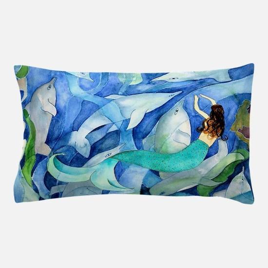 Dolphins and Memraid Art Pillow Case
