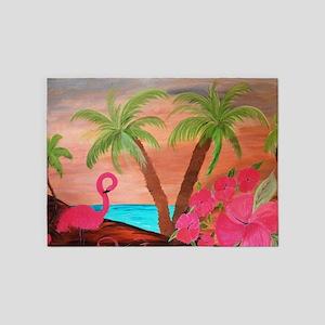 Flamingo in paradise 5'x7'Area Rug