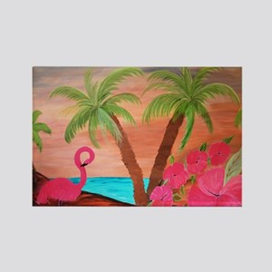 Flamingo in paradise Rectangle Magnet