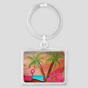 Flamingo in paradise Landscape Keychain