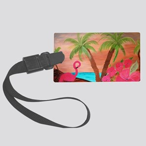 Flamingo in paradise Large Luggage Tag