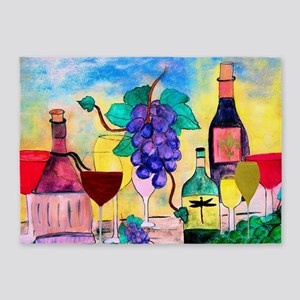 Grape Escape Wine Art 5'x7'Area Rug