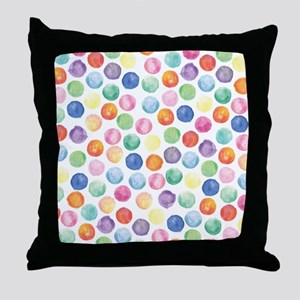 Watercolor Polka Dots Throw Pillow