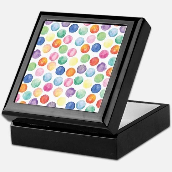 Watercolor Polka Dots Keepsake Box