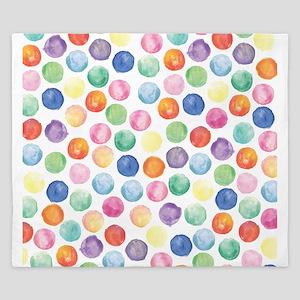 Watercolor Polka Dots King Duvet