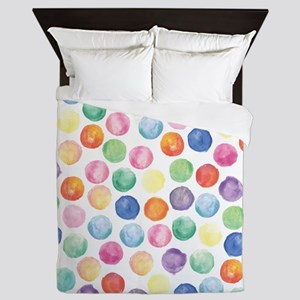 Watercolor Polka Dots Queen Duvet