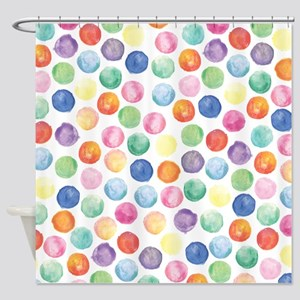 Watercolor Polka Dots Shower Curtain