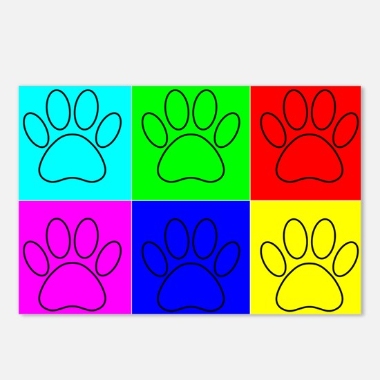 Dog Paws In Squares Postcards (Package of 8)