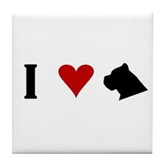 I Heart Cane Corso Tile Coaster