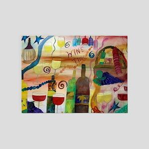 Wine Time Art 5'x7'Area Rug