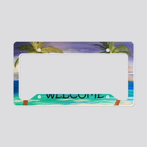 Welcome Tropical Sunset Beach License Plate Holder