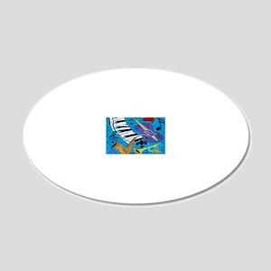 Jazz Art 20x12 Oval Wall Decal
