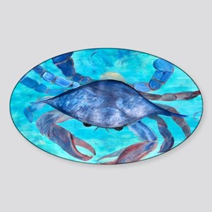 Blue Crab Art Sticker (Oval)