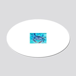 Blue Crab Art 20x12 Oval Wall Decal