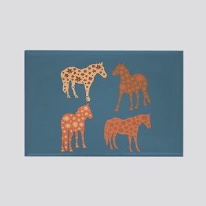 Four flower horses Magnets
