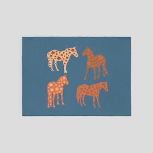 Four flower horses 5'x7'Area Rug