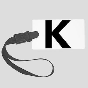 Letter K Black Luggage Tag