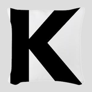 Letter K Black Woven Throw Pillow