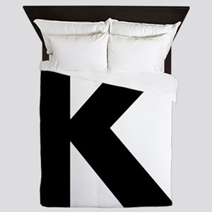 Letter K Black Queen Duvet