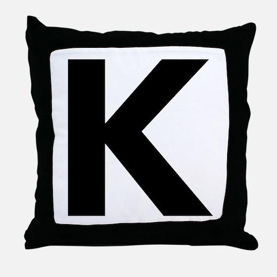 Letter K Black Throw Pillow