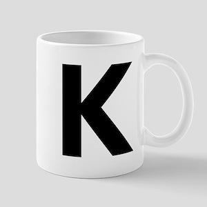 Letter K Black Mugs