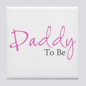Daddy To Be (Pink Script) Tile Coaster