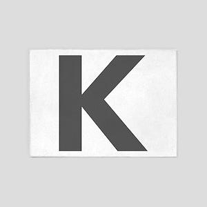 Letter K Dark Gray 5'x7'Area Rug