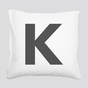 Letter K Dark Gray Square Canvas Pillow