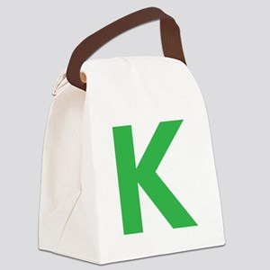 Letter K Green Canvas Lunch Bag