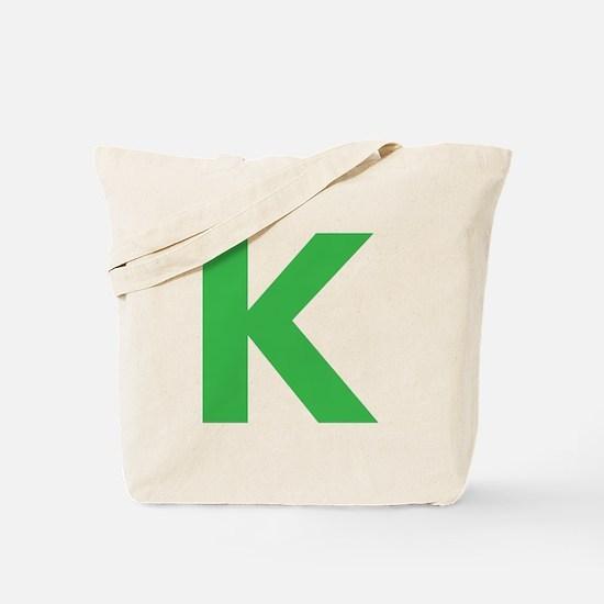 Letter K Green Tote Bag