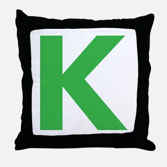 Letter K Green Throw Pillow