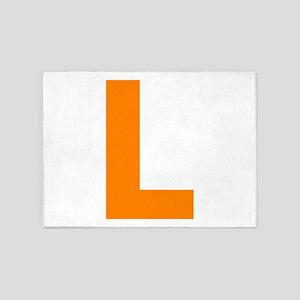 Letter L Orange 5'x7'Area Rug