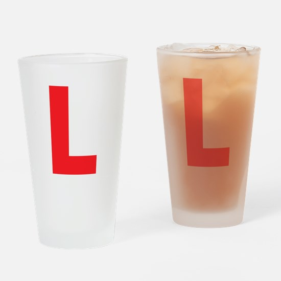Letter L Red Drinking Glass