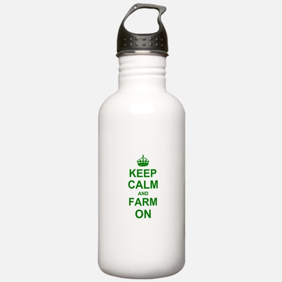 Keep calm and Farm on Sports Water Bottle