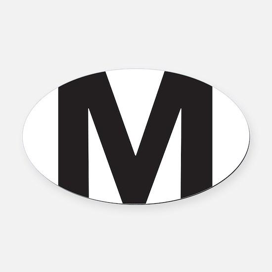 Letter M Black Oval Car Magnet
