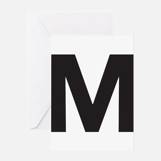 Letter M Black Greeting Cards