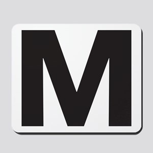Letter M Black Mousepad