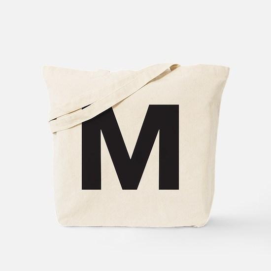 Letter M Black Tote Bag
