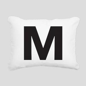 Letter M Black Rectangular Canvas Pillow