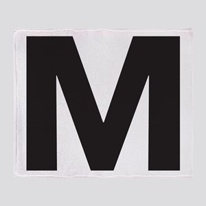 Letter M Black Throw Blanket