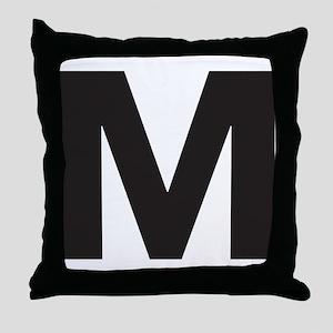 Letter M Black Throw Pillow