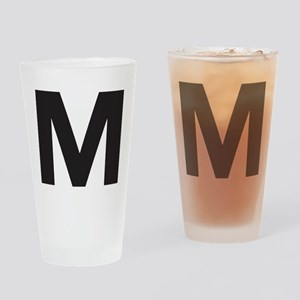 Letter M Black Drinking Glass