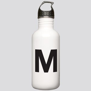 Letter M Black Water Bottle