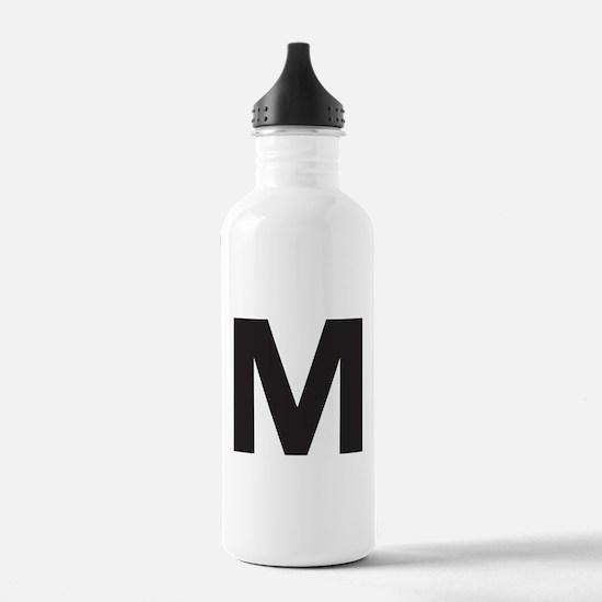 Letter M Black Water Bottle