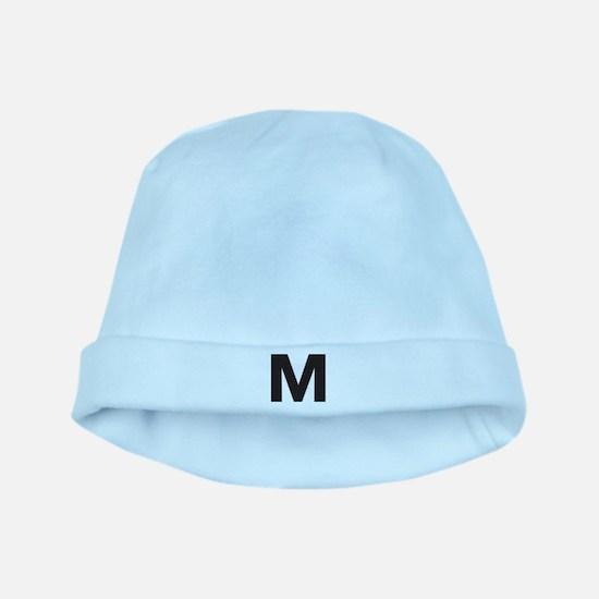 Letter M Black baby hat