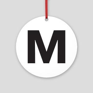 Letter M Black Ornament (Round)