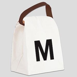 Letter M Black Canvas Lunch Bag